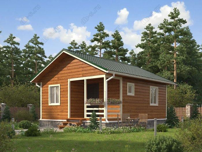 Одноэтажный проект 6 на 7.5 каркасный дом под ключ терраса (веранда) двухскатная крыша санузел (туалет)