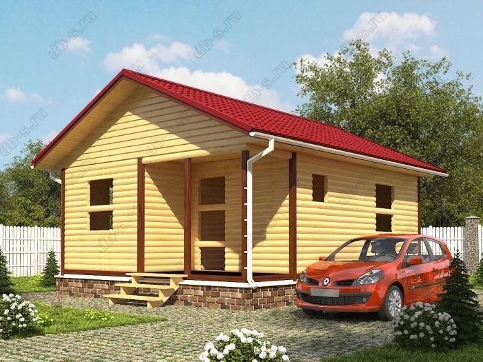 Одноэтажный проект 6 на 7.5 сруб под усадку терраса (веранда) двухскатная крыша санузел (туалет)