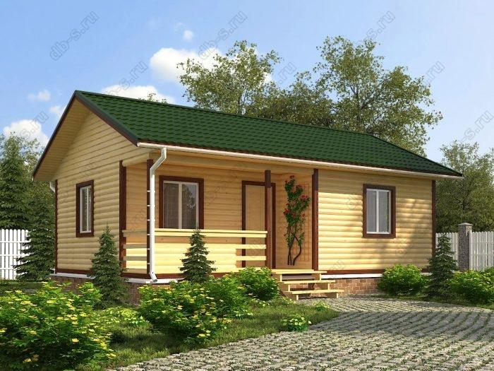 Одноэтажный проект 6 на 9 дом из профилированного бруса терраса (веранда) двухскатная крыша санузел (туалет)