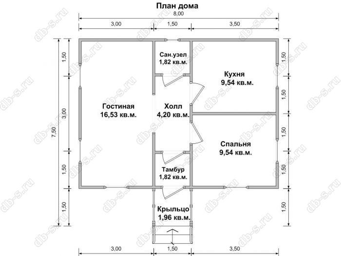 Планировка одноэтажного дома 6 на 8