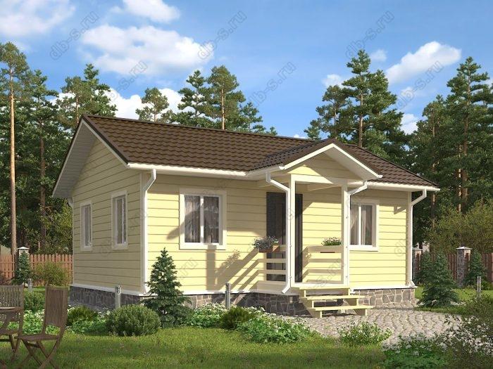 Одноэтажный проект 6 на 8 каркасный дом под ключ двухскатная крыша санузел (туалет)