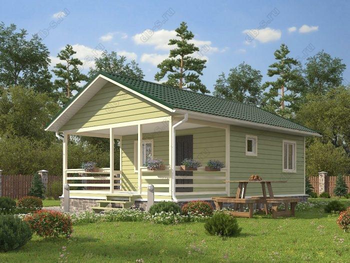Одноэтажный проект 6 на 9 каркасный дом под ключ терраса (веранда) двухскатная крыша санузел (туалет)