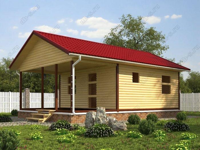 Одноэтажный проект 6 на 9 сруб под усадку терраса (веранда) двухскатная крыша санузел (туалет)
