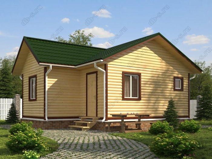 Одноэтажный проект 6 на 8 дом из профилированного бруса двухскатная крыша санузел (туалет)