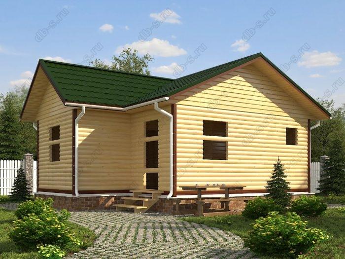 Одноэтажный проект 6 на 8 сруб под усадку двухскатная крыша санузел (туалет)
