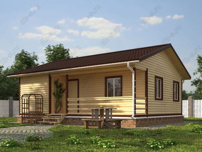 Одноэтажный проект 7.5 на 9 дом из профилированного бруса терраса (веранда) двухскатная крыша санузел (туалет)