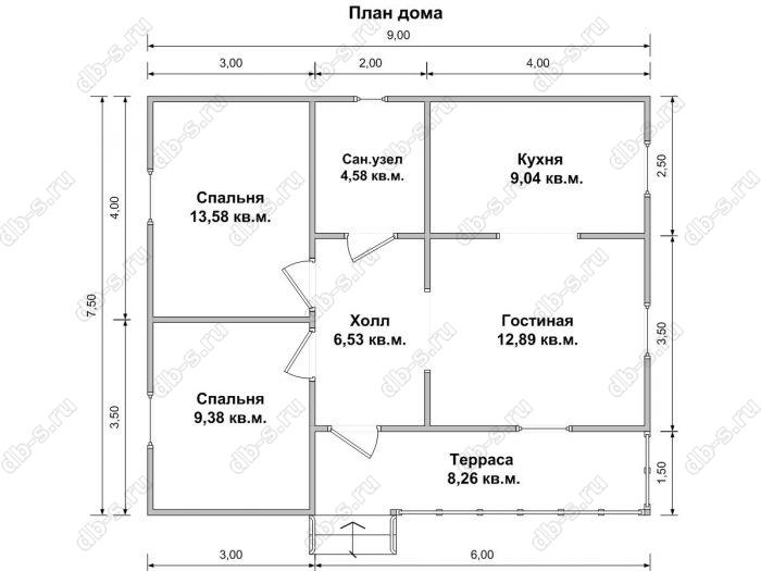 Планировка одноэтажного дома 7.5 на 9