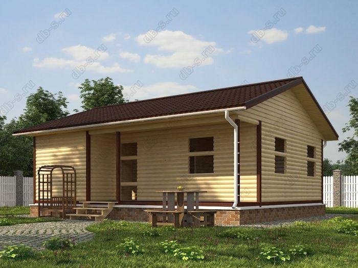 Одноэтажный проект 7.5 на 9 сруб под усадку терраса (веранда) двухскатная крыша санузел (туалет)