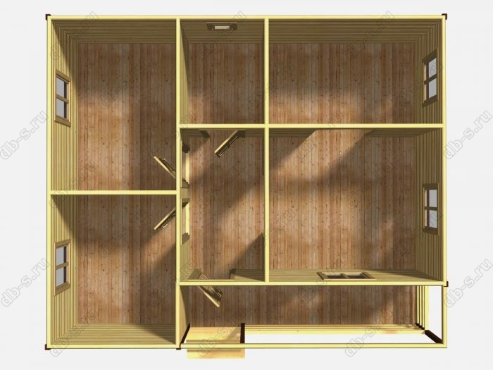 Одноэтажный деревянный дом под ключ 7.5 на 9
