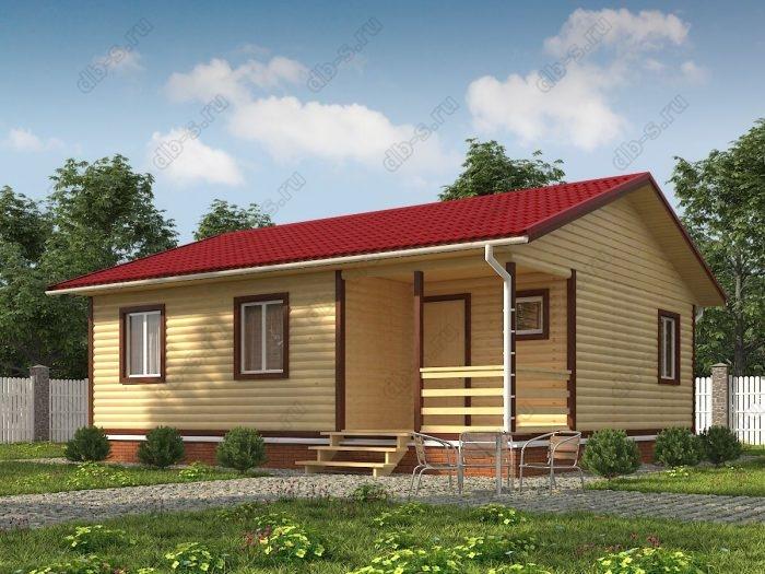 Одноэтажный проект 8 на 9 дом из профилированного бруса терраса (веранда) двухскатная крыша санузел (туалет)
