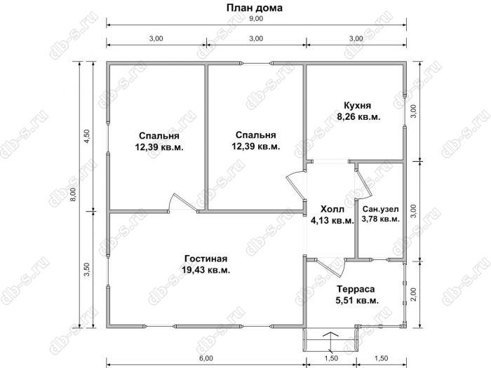 Планировка одноэтажного дома 8 на 9