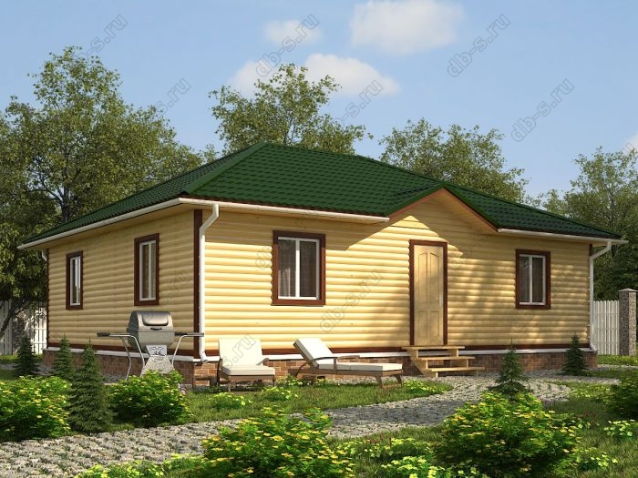Одноэтажный проект 9 на 11 дом из профилированного бруса санузел (туалет)