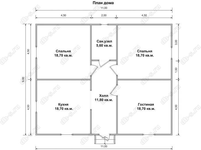 Планировка одноэтажного дома 9 на 11