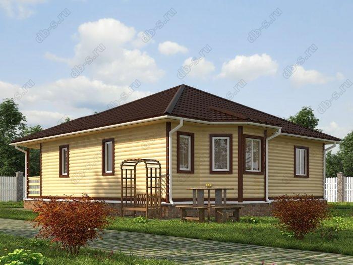 Одноэтажный проект 10 на 10 дом из профилированного бруса терраса (веранда) санузел (туалет)