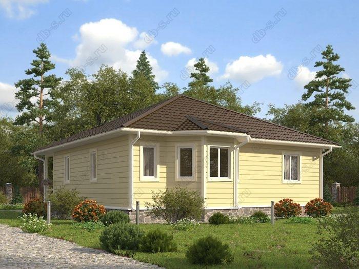 Одноэтажный проект 10 на 10 каркасный дом под ключ терраса (веранда) санузел (туалет)