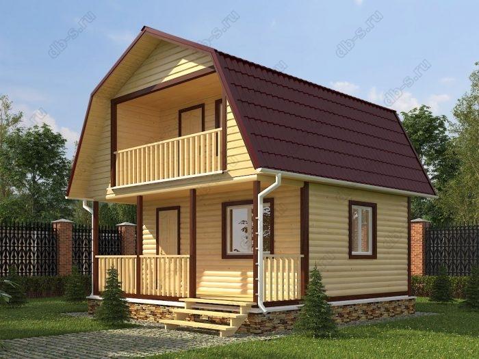 Проект с мансардой 6 на 6 дом из профилированного бруса терраса (веранда) балкон ломаная крыша вальмовая крыша