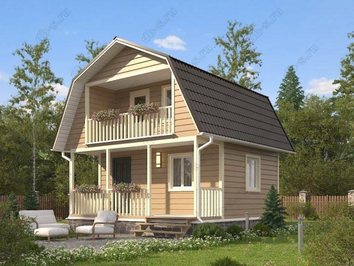 Проект с мансардой 6 на 6 каркасный дом под ключ терраса (веранда) балкон ломаная крыша вальмовая крыша