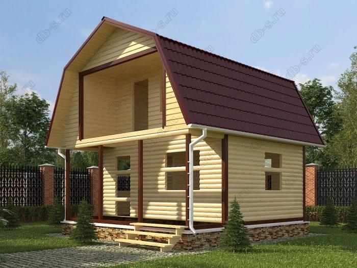 Проект с мансардой 6 на 6 сруб под усадку терраса (веранда) балкон ломаная крыша вальмовая крыша