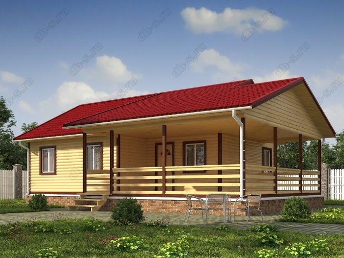 Одноэтажный проект 8 на 10 дом из профилированного бруса терраса (веранда) двухскатная крыша санузел (туалет)