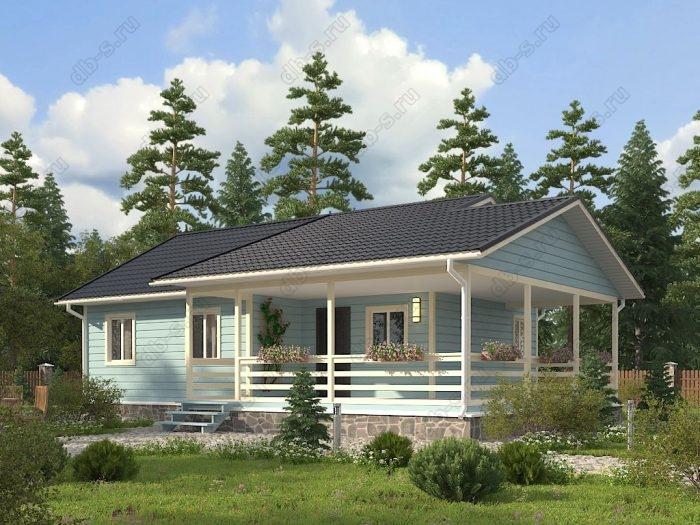 Одноэтажный проект 8 на 10 каркасный дом под ключ терраса (веранда) двухскатная крыша санузел (туалет)