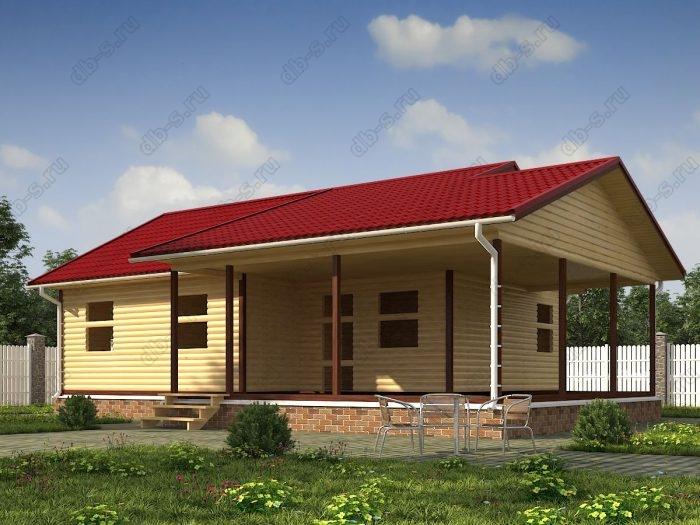 Одноэтажный проект 8 на 10 сруб под усадку терраса (веранда) двухскатная крыша санузел (туалет)
