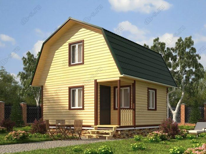Проект с мансардой 6 на 6 дом из профилированного бруса терраса (веранда) ломаная крыша вальмовая крыша санузел (туалет)