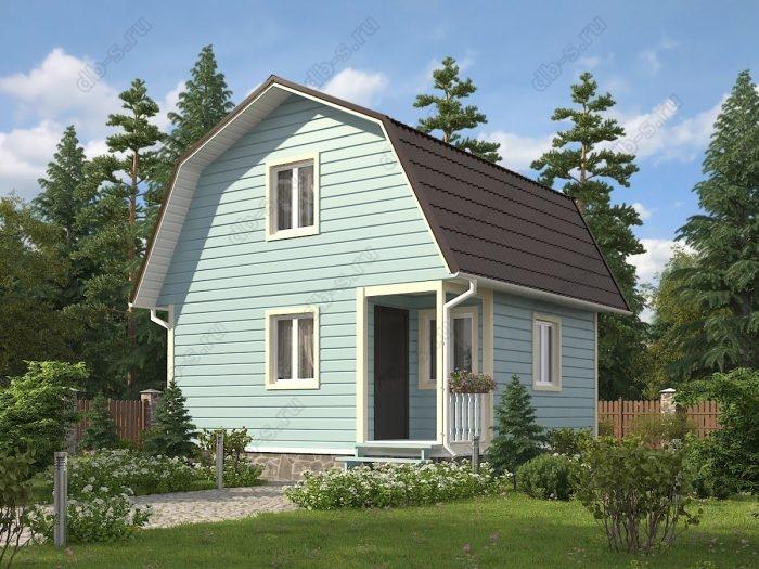 Проект с мансардой 6 на 6 каркасный дом под ключ терраса (веранда) ломаная крыша вальмовая крыша санузел (туалет)