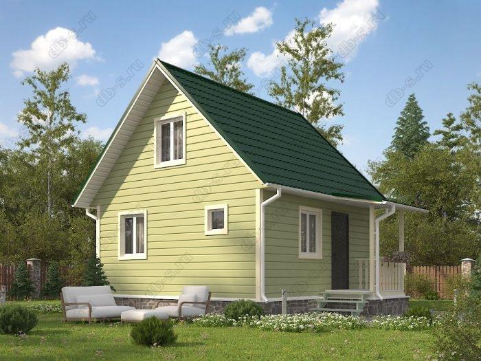 Проект с мансардой 6 на 6 каркасный дом под ключ терраса (веранда) двухскатная крыша санузел (туалет)