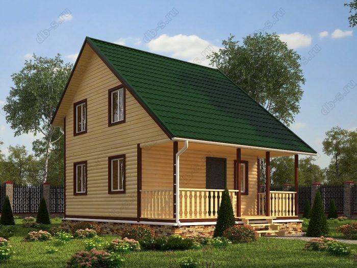 Двухэтажный проект 6 на 8 дом из профилированного бруса терраса (веранда) двухскатная крыша санузел (туалет)