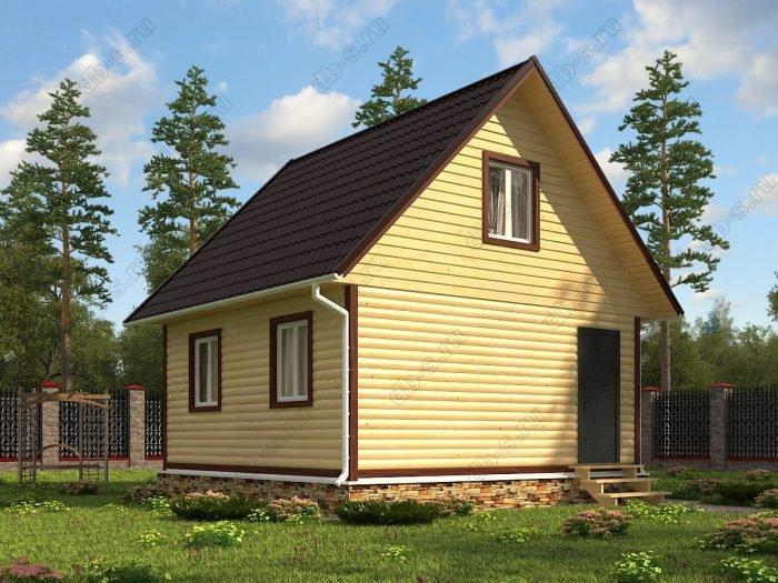 Проект с мансардой 6 на 6 дом из профилированного бруса двухскатная крыша санузел (туалет)