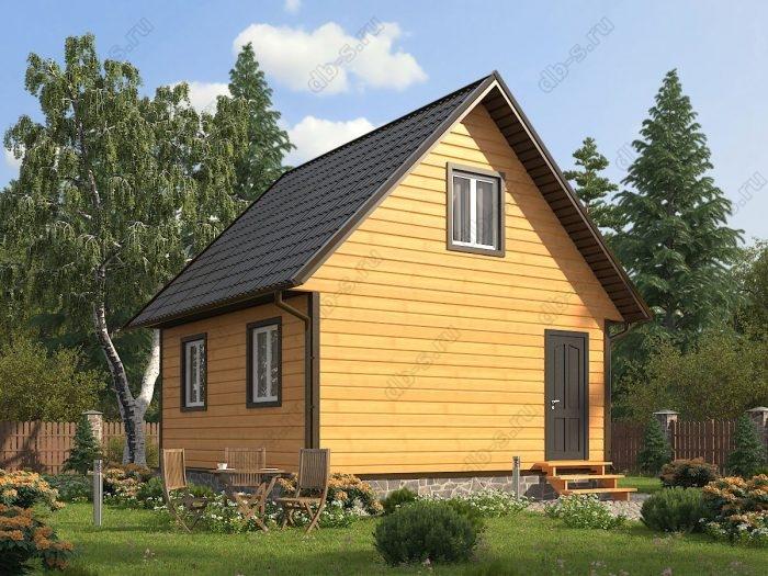 Проект с мансардой 6 на 6 каркасный дом под ключ двухскатная крыша санузел (туалет)