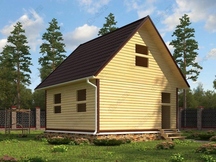 Проект с мансардой 6 на 6 сруб под усадку двухскатная крыша санузел (туалет)