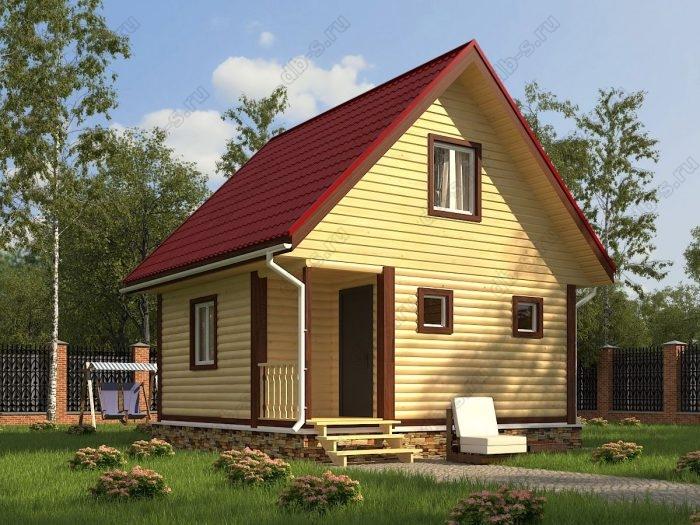 Проект с мансардой 6 на 6 дом из профилированного бруса терраса (веранда) двухскатная крыша санузел (туалет)