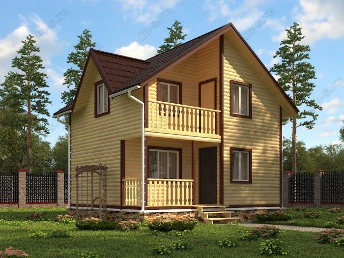 Двухэтажный проект 6 на 7 дом из профилированного бруса терраса (веранда) балкон двухскатная крыша санузел (туалет)