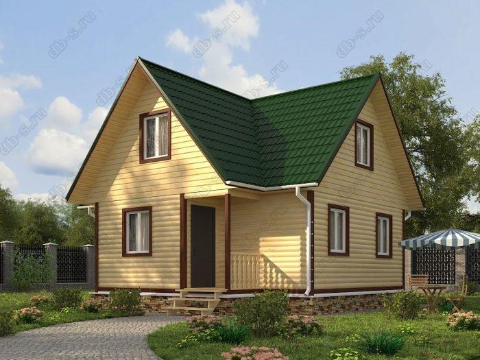 Проект с мансардой 8 на 7.5 дом из профилированного бруса терраса (веранда) двухскатная крыша санузел (туалет)