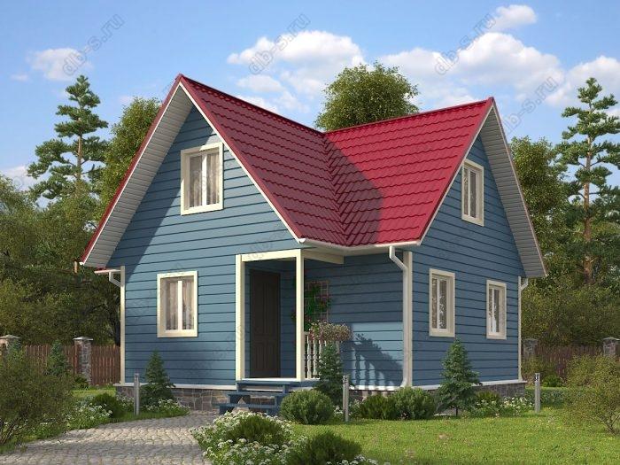 Проект с мансардой 8 на 7.5 каркасный дом под ключ терраса (веранда) двухскатная крыша санузел (туалет)