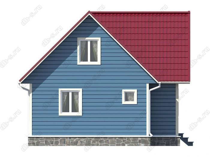 Каркасный дом 8х7.5 терраса (веранда) двухскатная крыша