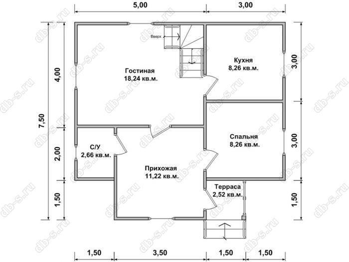 Планировка дома с мансардой 8 на 7.5