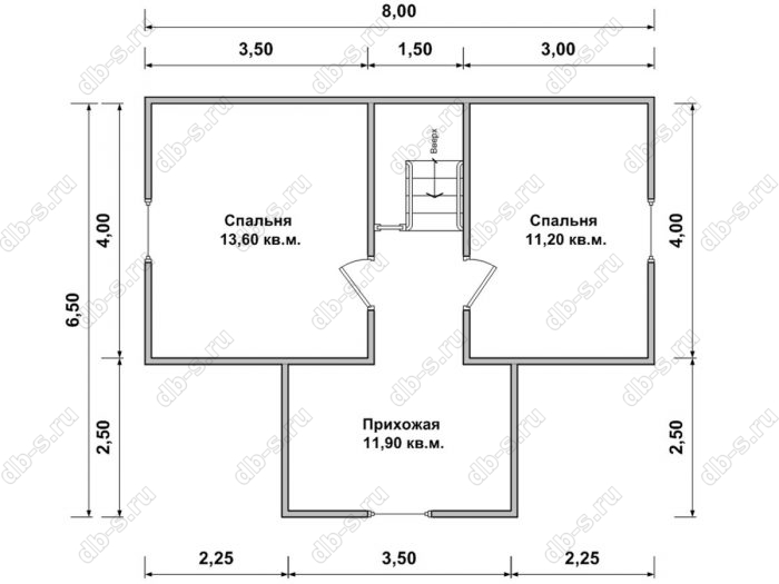 Дом 8 на 7.5 план мансардного этажа
