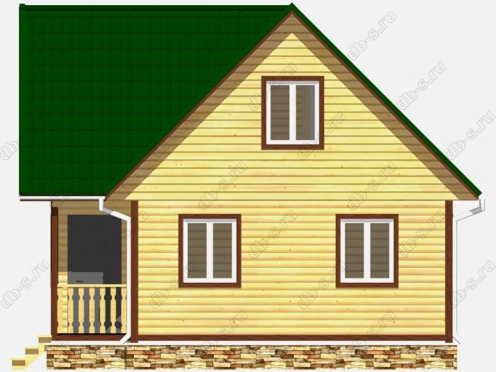 Дом из бруса 8х7.5 терраса (веранда) двухскатная крыша