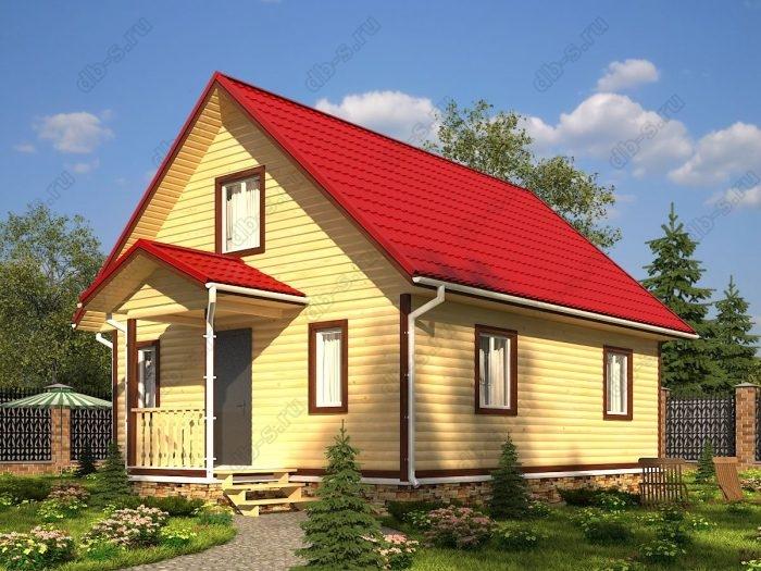 Проект с мансардой 7 на 10 дом из профилированного бруса терраса (веранда) двухскатная крыша санузел (туалет)