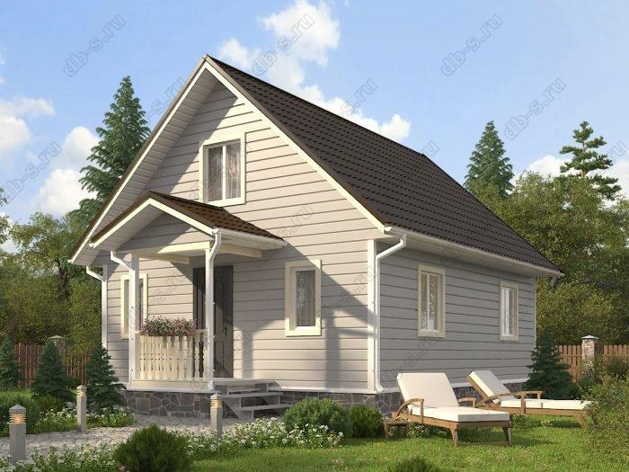 Проект с мансардой 7 на 10 каркасный дом под ключ терраса (веранда) двухскатная крыша санузел (туалет)