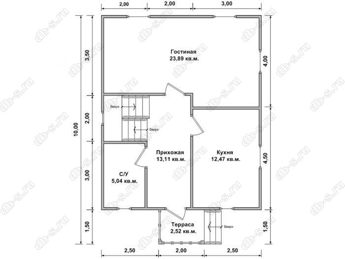 Планировка дома с мансардой 7 на 10