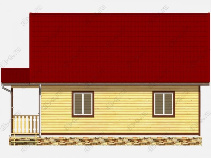 Дом из бруса 7х10 терраса (веранда) двухскатная крыша