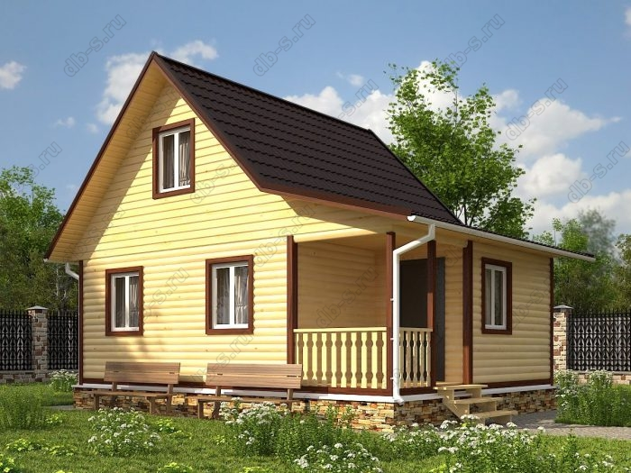 Проект с мансардой 6 на 8 дом из профилированного бруса терраса (веранда) двухскатная крыша санузел (туалет)