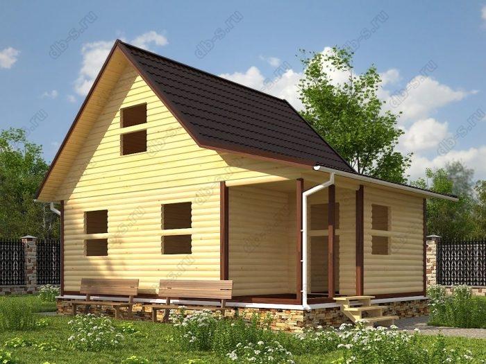 Проект с мансардой 6 на 8 сруб под усадку терраса (веранда) двухскатная крыша санузел (туалет)