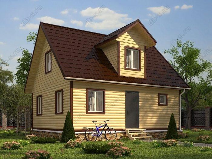 Проект с мансардой 6 на 8 дом из профилированного бруса двухскатная крыша санузел (туалет)