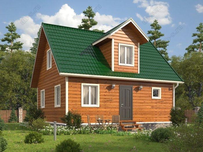 Проект с мансардой 6 на 8 каркасный дом под ключ двухскатная крыша санузел (туалет)