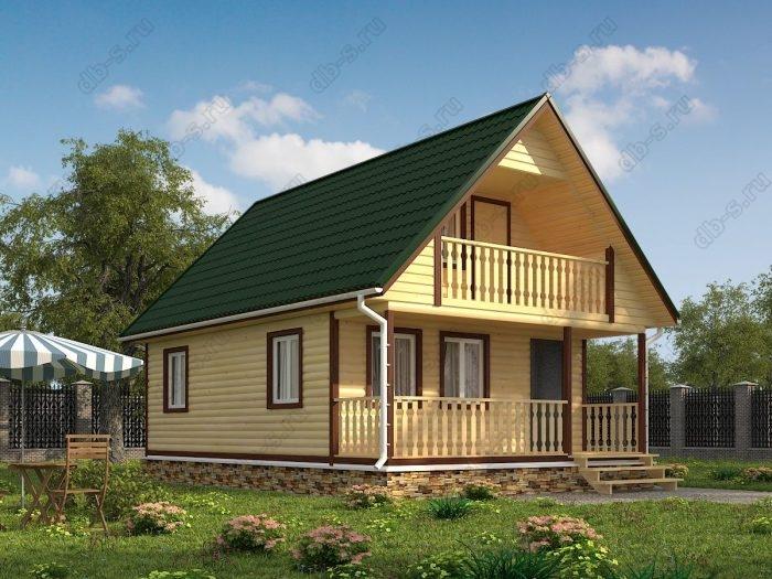 Проект с мансардой 6 на 9 дом из профилированного бруса терраса (веранда) балкон двухскатная крыша санузел (туалет)