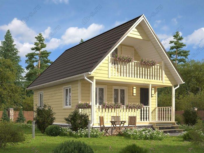 Проект с мансардой 6 на 9 каркасный дом под ключ терраса (веранда) балкон двухскатная крыша санузел (туалет)